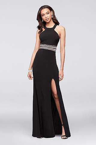 Ombre Halter Dress Black Gold