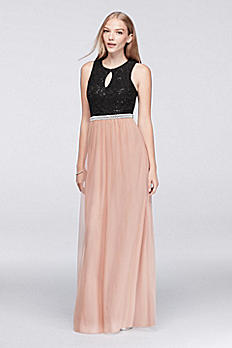 Sequin Lace and Mesh Maxi Dress with Open Back X34581H232