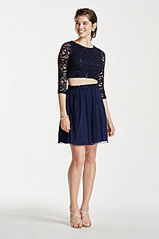 3/4 Sleeve Sequin Crop Top with Short Mesh Skirt X90011HJL