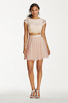 Two Piece Lace Crop Top with Short Mesh Skirt X90021HVS
