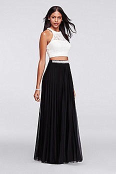 Beaded Lace Crop Top Set with Long Skirt X90101HVA