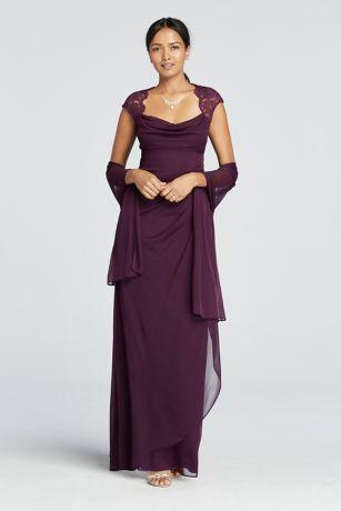 Long Purple Soft Flowy Xscape Bridesmaid Dress