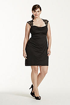 Lace Cap Sleeve Dress with Side Ruffles XS3393W