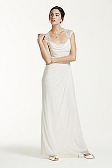 Lace Cap Sleeve Long Matte Mesh Dress XS3450