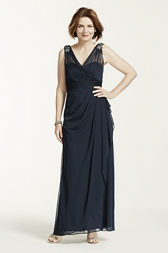 Long V Neck Sheer Jersey Dress with Brooch Detail XS3980