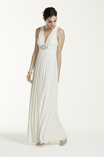 Long Jersey Gown with Beaded Knot Detail XS4226