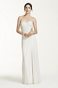 Strapless Mesh Sheath Dress with Beaded Back XS5328