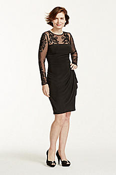 Short Jersey Dress with Illusion Mesh Sleeves XS5488
