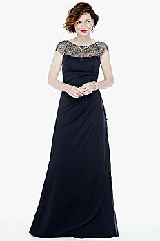 Long Matte Jersey Dress with Illusion Ne