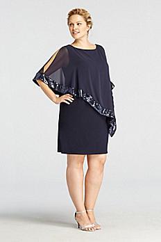Caplet Short Jersey Dress with Sequin Trim XS6150W