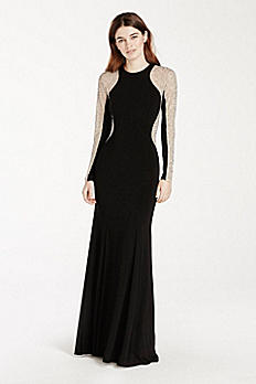 Long Jersey Dress with Illusion Beaded Sleeves XS6649