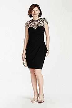 Beaded Illusion Cap Sleeve Bodice Jersey Dress XS6755