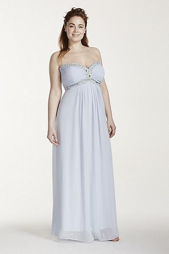 Strapless Crystal Beaded Bodice Tie Back Dress XS6915W
