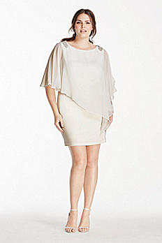Short Jersey Dress with Chiffon Caplet Overlay XS7463W