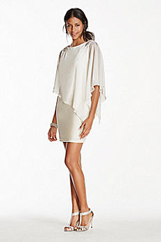 Short Jersey Dress with Chiffon Caplet Overlay XS7463