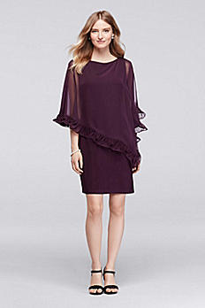 Knee Length Dress with Ruffled Capelet XS8155