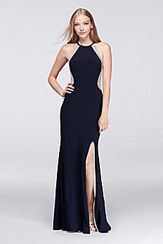 Illusion Cutaway Jersey Gown with Caviar Beading XS8264D