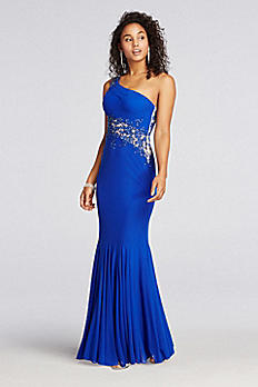 One Shoulder Jersey Beaded Illusion Prom Dress XS8383