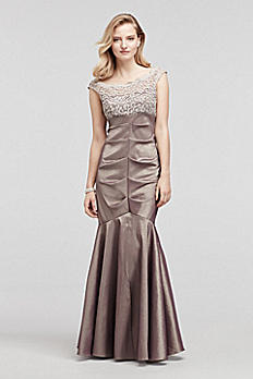 Cap Sleeve Taffeta Dress with Glitter Lace Bodice XS8549