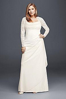 Long Sleeved Lace Mesh Plus Size Wedding Dress XS8644W