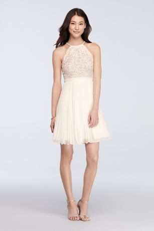 Short Lace Halter Dress with Pleated Skirt | David's Bridal
