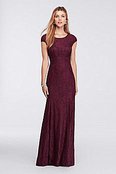Long Cap-Sleeve Lace Dress with Low Back XS8875