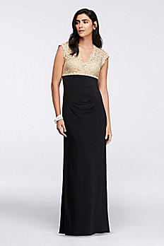 Long Dress with Metallic Lace Bodice XS9386