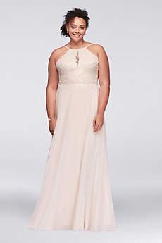 Long A-Line Halter Prom Dress - Xscape