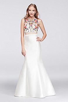 Floral Crop Top and Mermaid Skirt Two-Piece Dress XS9557