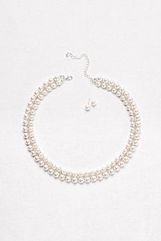 Double-Row Pearl Necklace & Earrings Set Y10423S