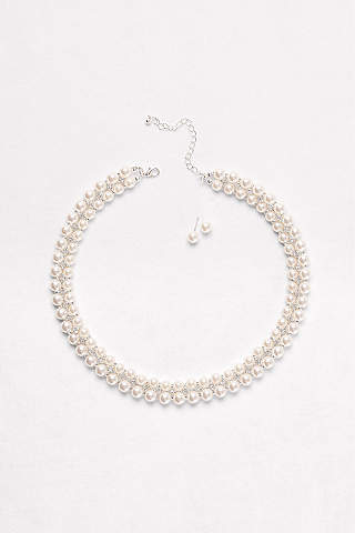Double Row Pearl Necklace Earrings Set