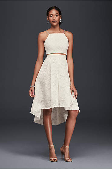 Two-piece ivory lace dress with high-low hem