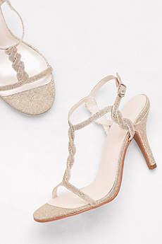 David's Bridal Grey Sandals (Glitter Braided T-Strap Heels)