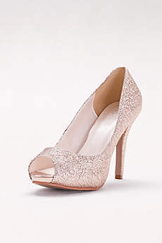 David's Bridal Pink Peep Toe Shoes (Glitter Platform Peep-Toe Heels)