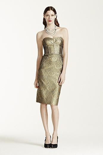 Strapless Short Jacquard Dress with Cuff Neckline ZP281443