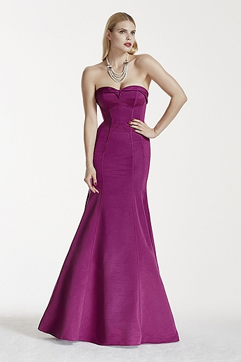 Strapless Faille Dress with Contoured Seam Detail ZP281574