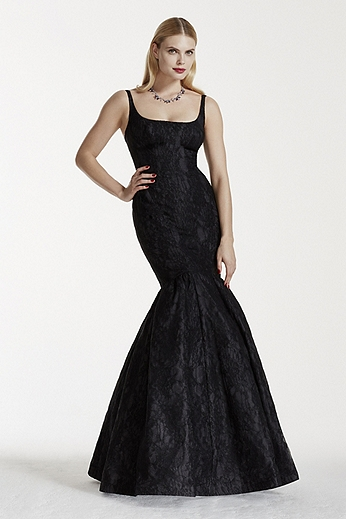 Bonded Lace Tank Mermaid Dress with Seaming Detail ZP281578
