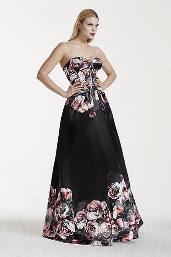 Floral Satin Dress with Corset Detailed Bodice ZP281580