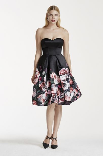 Short Floral Satin Strapless Dress | David's Bridal