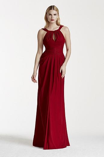 Velvet Keyhole Halter Dress with Fishtail Back ZP281594
