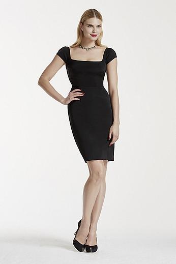 Cap Sleeve Short Faille Dress with Dart Detailing ZP281595