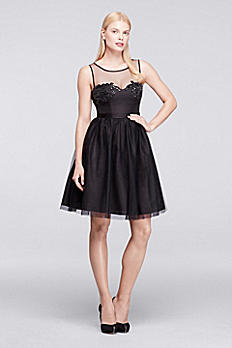 Short Sleeveless Tulle and Satin Party Dress ZP281653