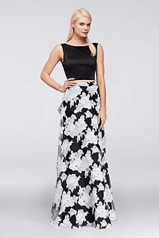 Satin Crop Top and Printed Organza Skirt Set