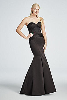Long Strapless Satin Fit and Flare Dress ZP285036