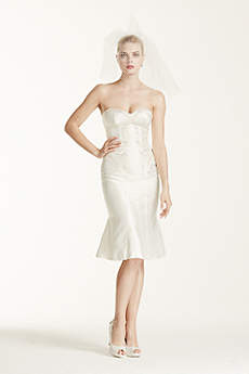 Short tea length wedding dresses david 39 s bridal for Zac posen short wedding dress