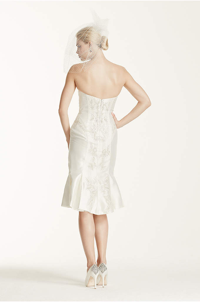 One shoulder all over lace dress with ribbon davids bridal for Zac posen short wedding dress