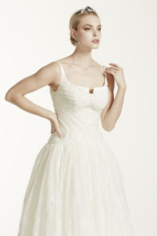 Truly zac posen lace high low tank wedding dress david 39 s for Zac posen wedding dress price