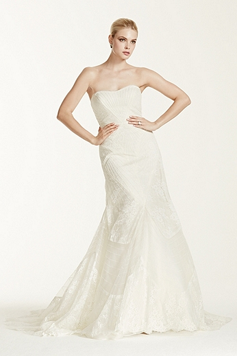 Geometric Corded Embroidery Strapless Trumpet Gown ZP341417