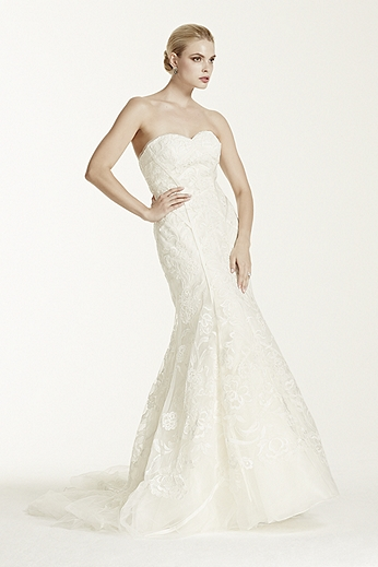 Tulle Mermaid Gown with Satin Lattice Detail ZP341419
