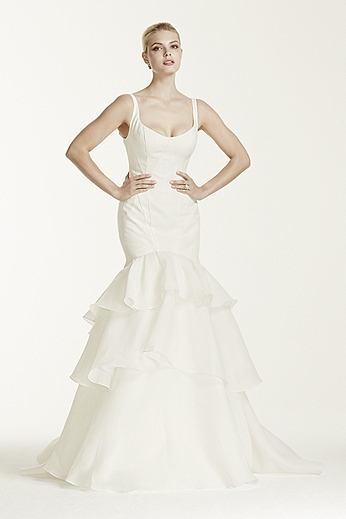 Tank Trumpet Gown with Tiered Skirt ZP341500